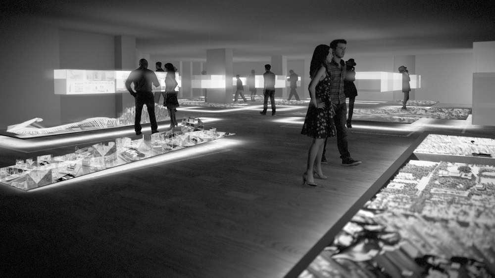 Floating Plinths -USYD Wilkinson Building, the Hearth Exhibition Proposal Visualisation