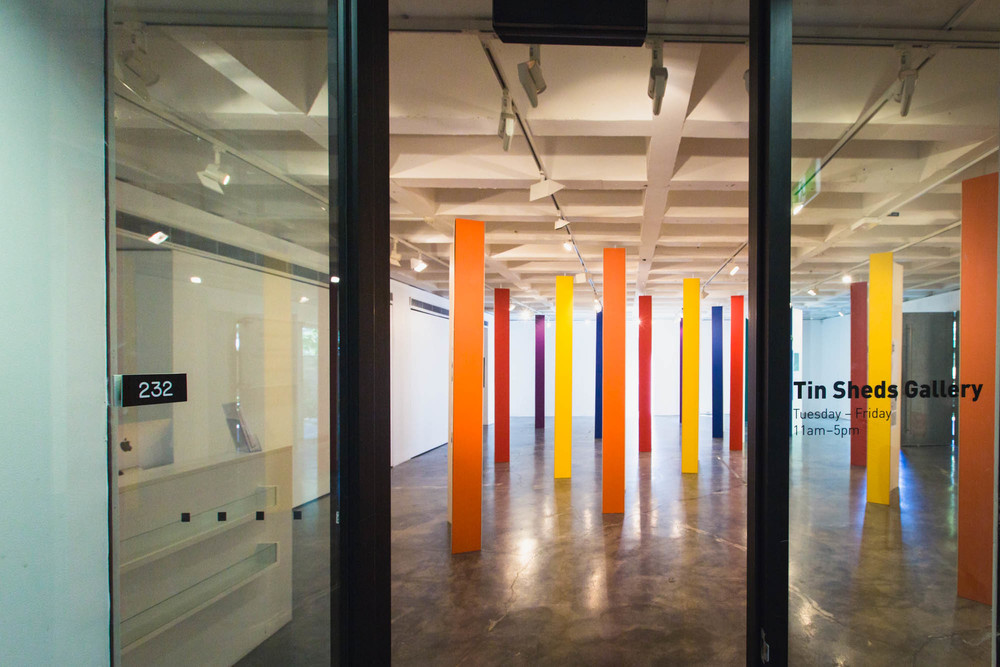 Projection colours based on the colours used in the Tin Sheds Gallery display columns - image by James Feng