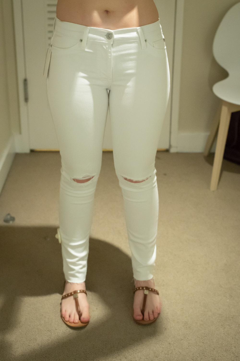 Hudson Nico Ankle Destructed Skinny Jeans - Size 29 - Front View