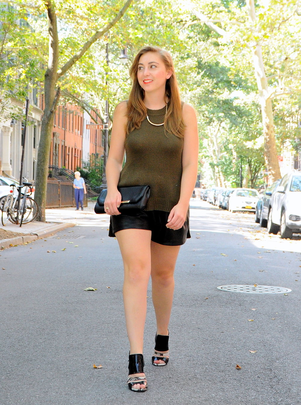 H&M Faux Leather Flared-Leg Shorts