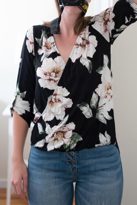 Becca Floral V-Neck Surplice Blouse - Size S - Front View