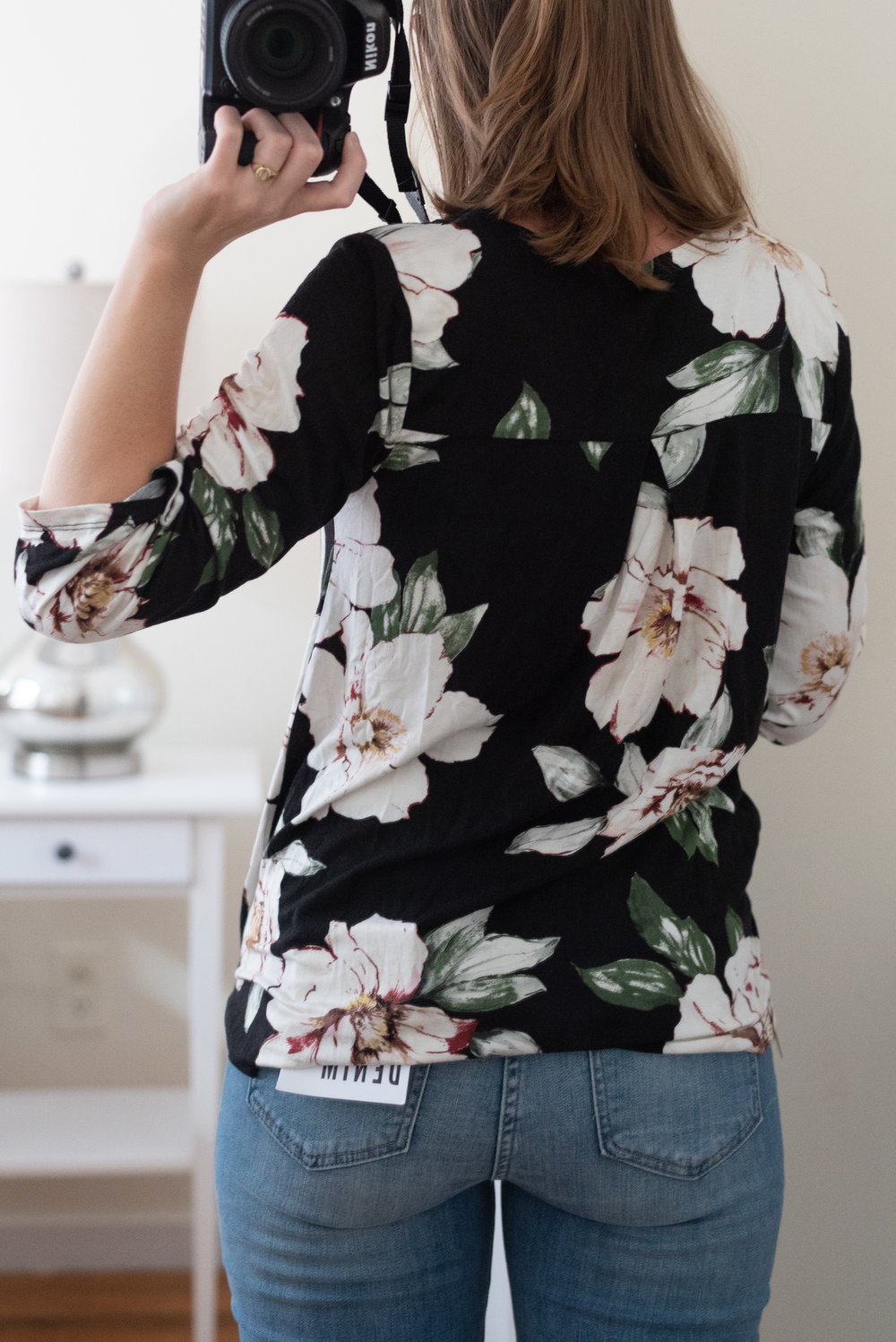 Becca Floral V-Neck Surplice Blouse - Size S - Back View