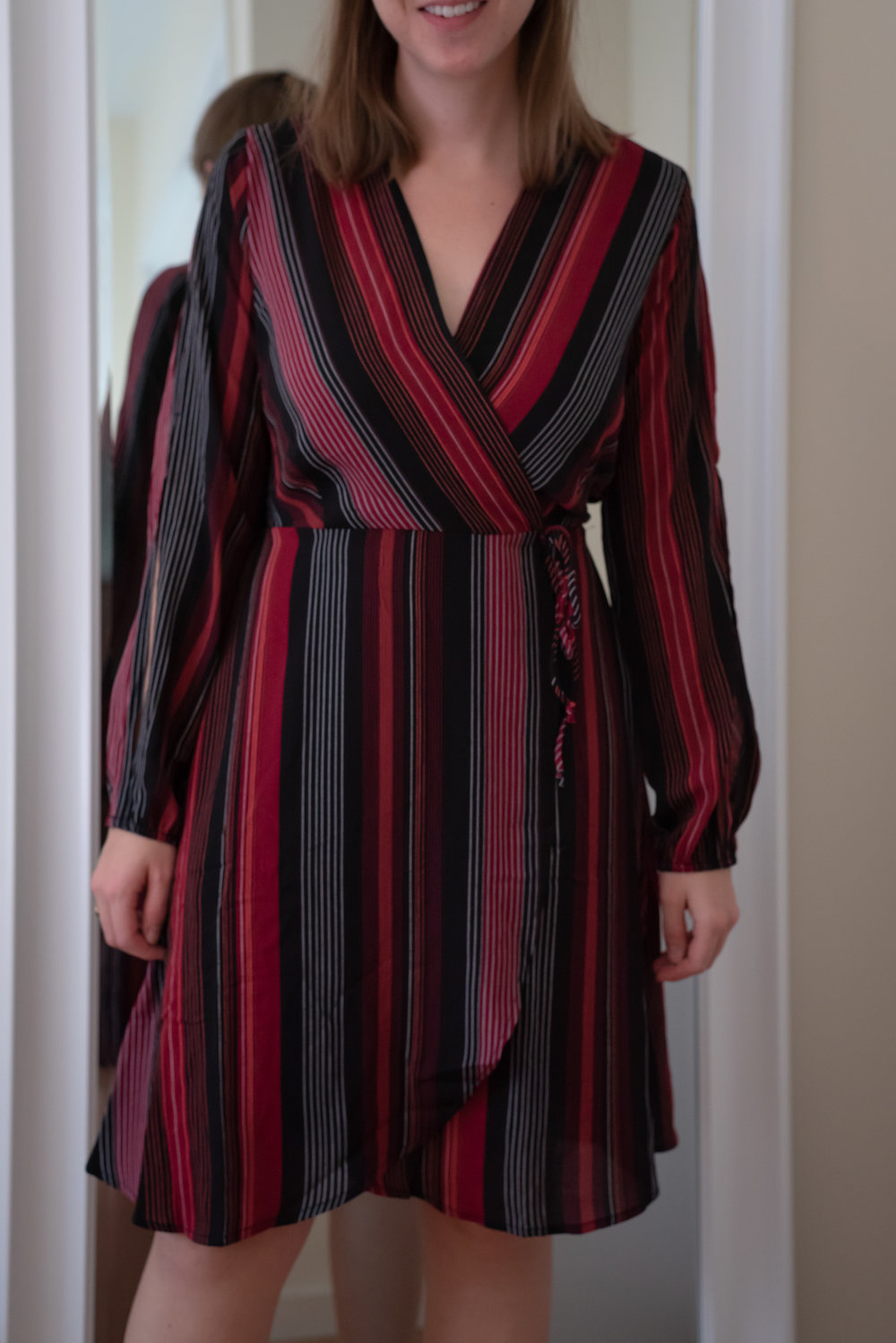 Monteau Petite Striped Split-Sleeve Faux-Wrap Dress - Size Petite S - FRONT