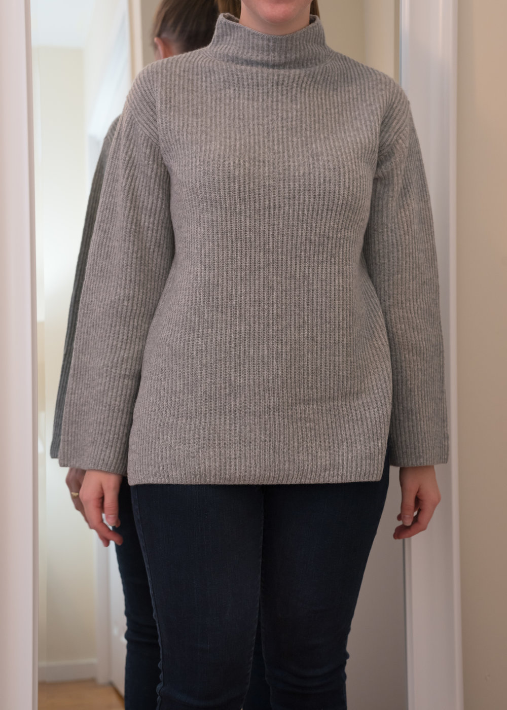 Everlane Cashmere Rib Mockneck Sweater - Size S - Front View