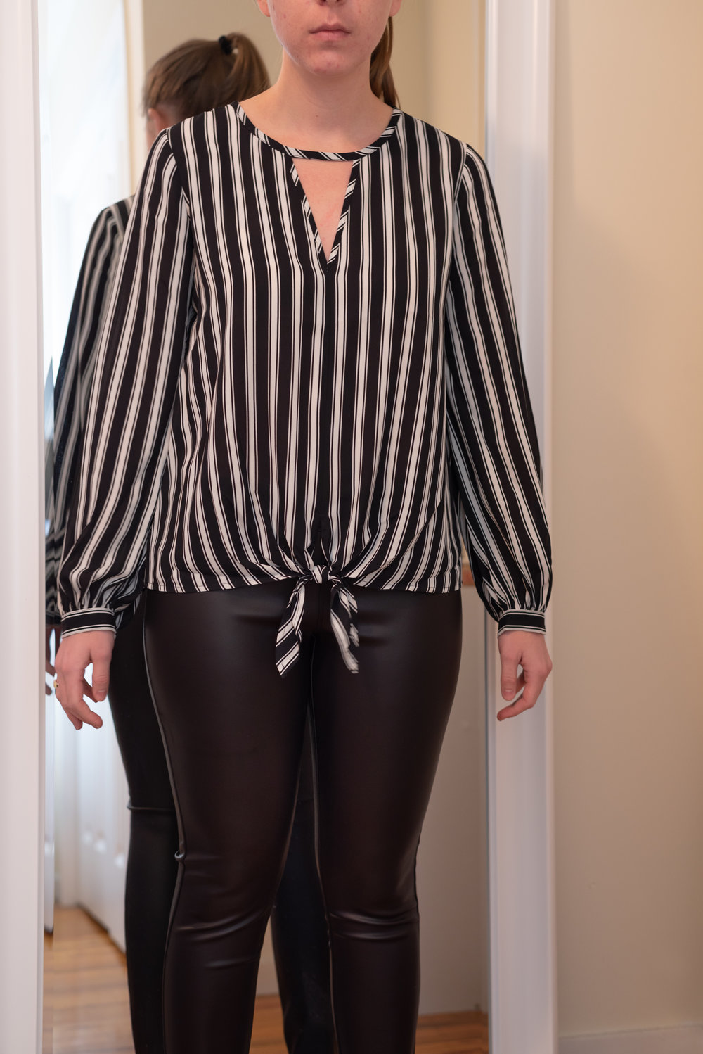 Express Petite Keyhole Tie Front Striped Blouse - Size S