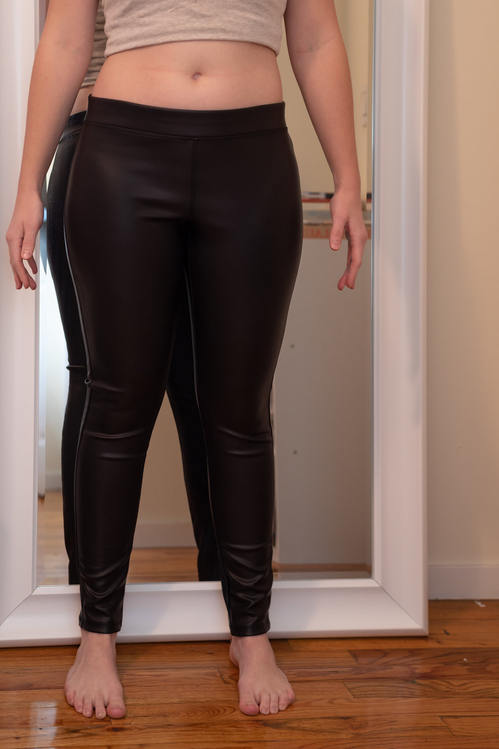 Express Petite Faux Leather Leggings - Size M