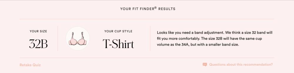 ThirdLove Fit Finder Quiz Results