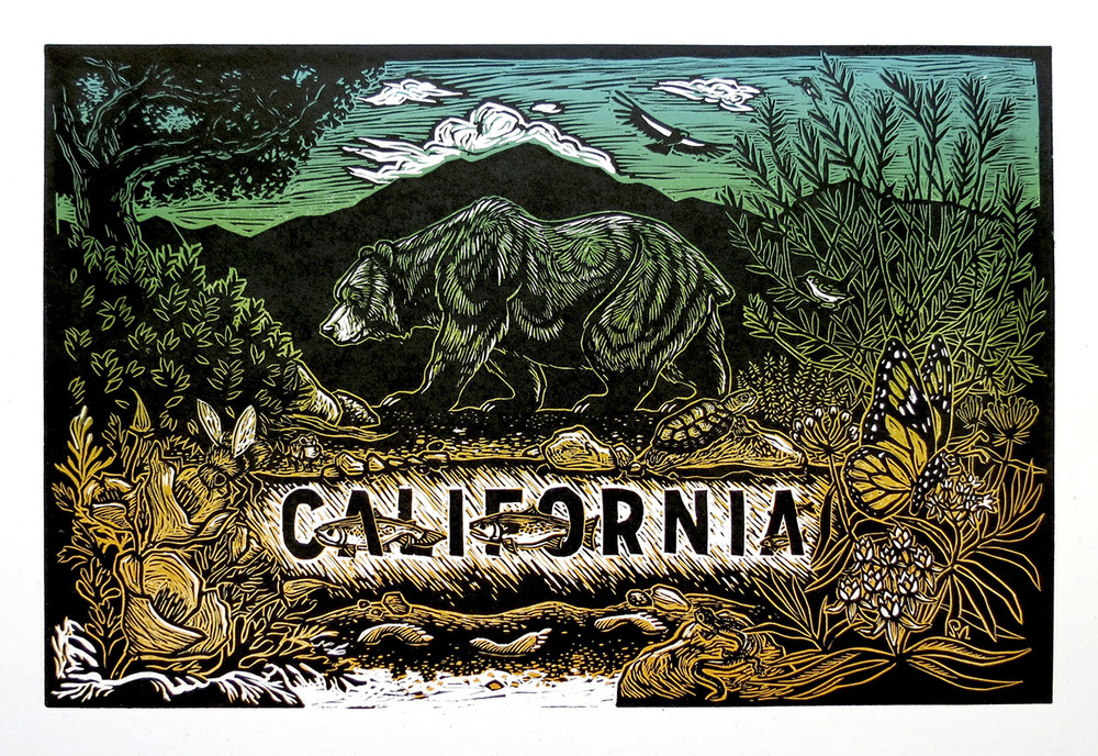 """ California ,""  Reduction Linocut, 2016, 12"" x 18"""