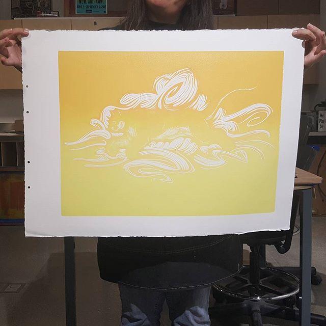 1st layer done. #printmaking #reductionblock #suicideblock #reliefprint #blockprint #inprogress #linocut #linoleum #linoleumprint #lino #splitfountain #gradient #firstlayer