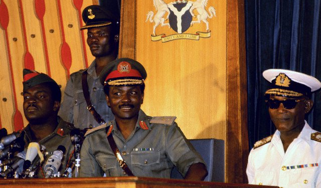 General Yakubu Gowan - Head of State (Center).  Vice Admiral Joseph Edet Akinwale Wey   (R), whose daughter was in my elementary school class.