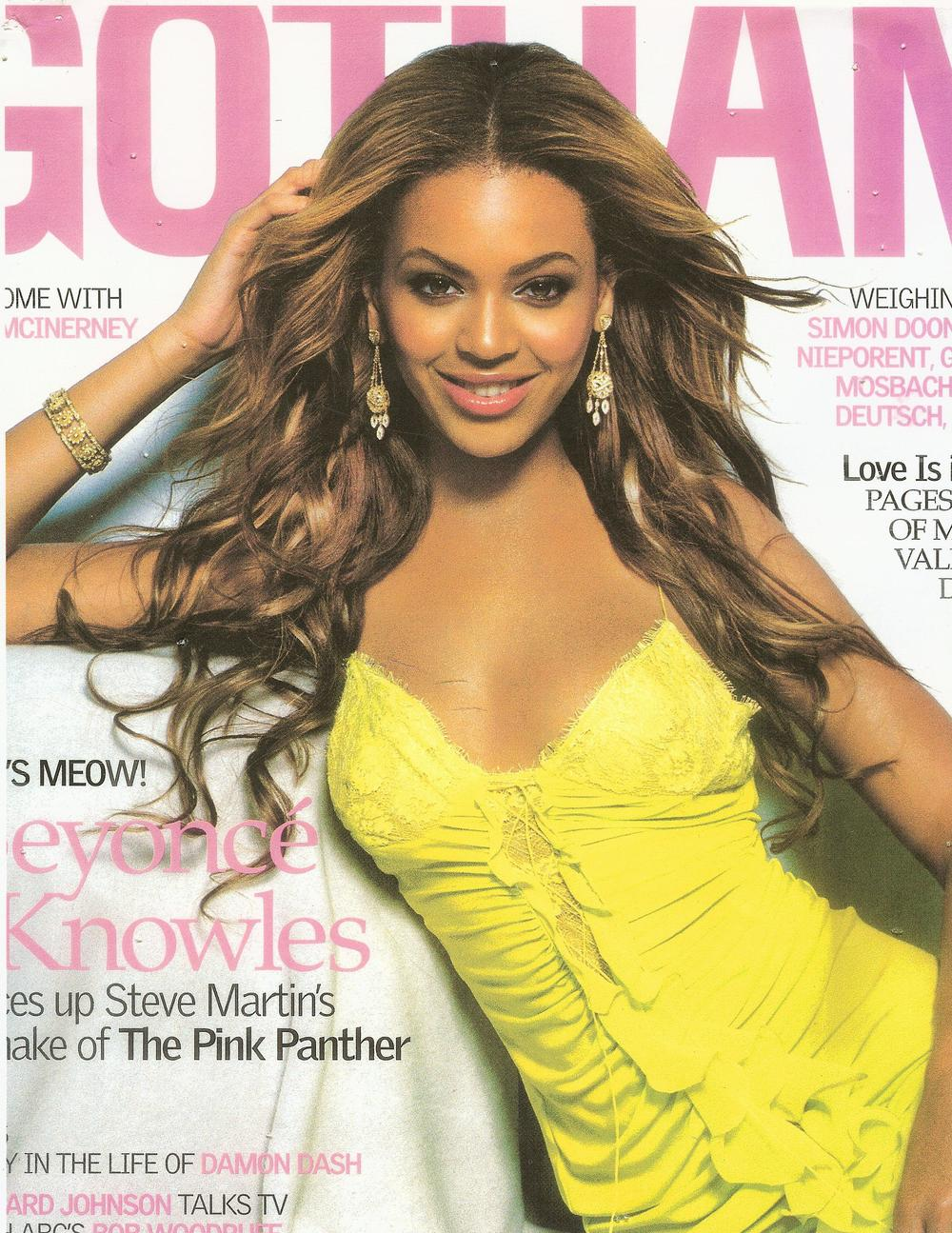 Beyonce on the cover of Gotham Magazine modeling our 18K Couture earrings and bangles.