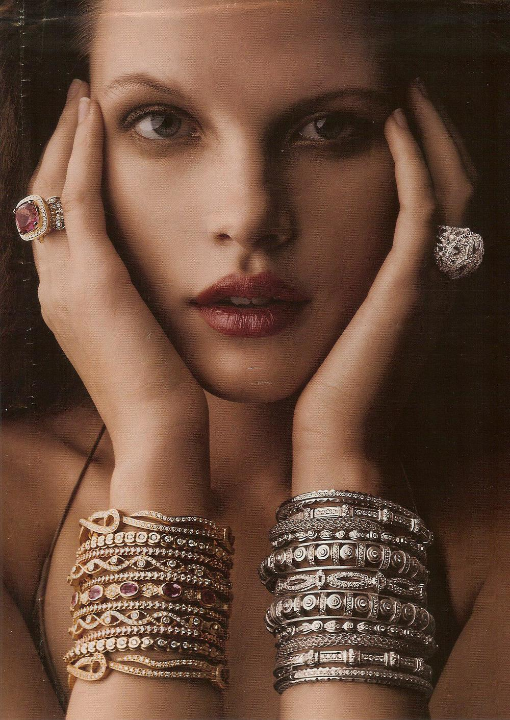 An editorial for our 18K stackable bangles.