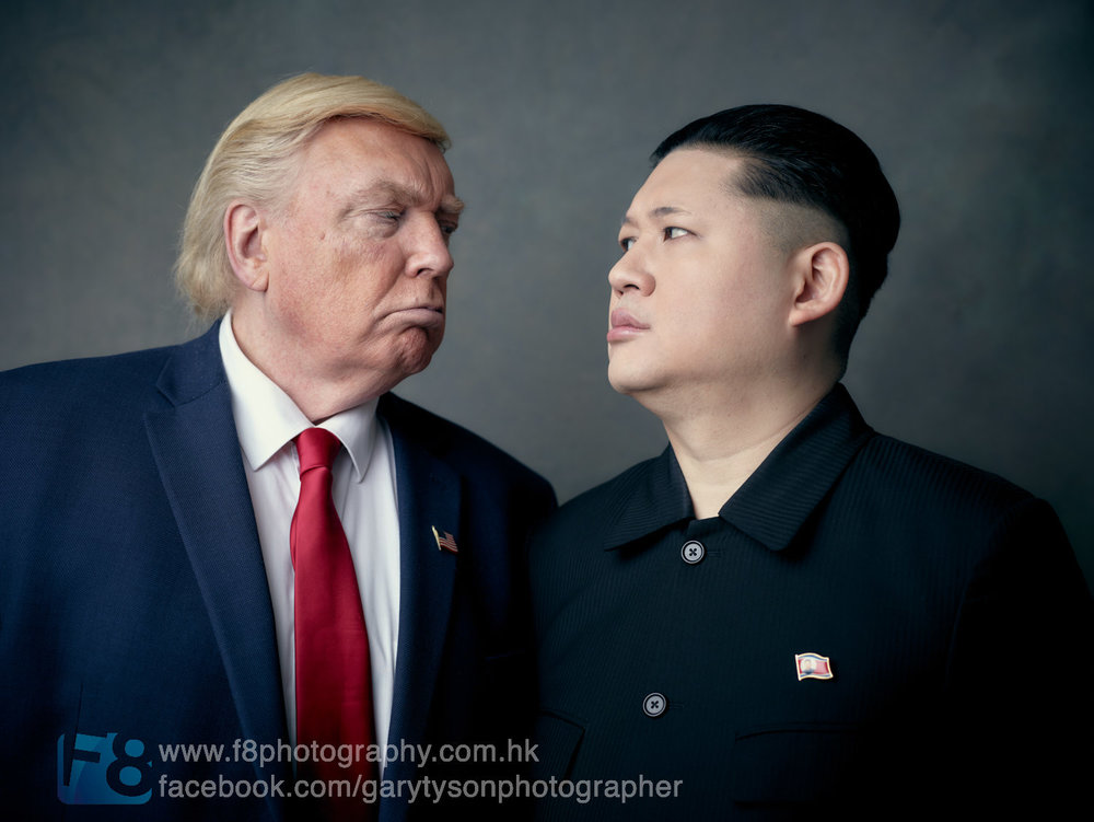 President Donald J. Trump lookalike faces off against Kim Jong Un lookalike...