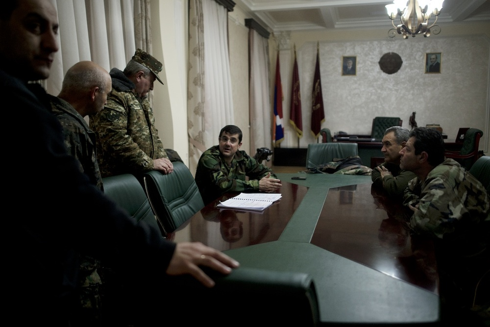 Nagorno Karabakh Prime Minister Arayik Harutyunyan is in discussions with his team, ahead of a meeting with volunteer fighters arriving to Stepanakert from different locations in Karabakh and Armenia.