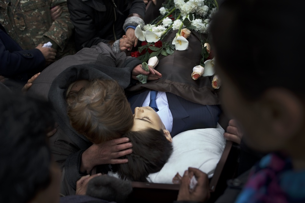 Family grieves the death of Vagharshak Grigoryan,12, who was killed in shelling that hit his school in the Martuni region at 8:30 AM, April 2. The child was one of the four civilians killed as a result of the re-ignited conflict between April 1 and April 5.