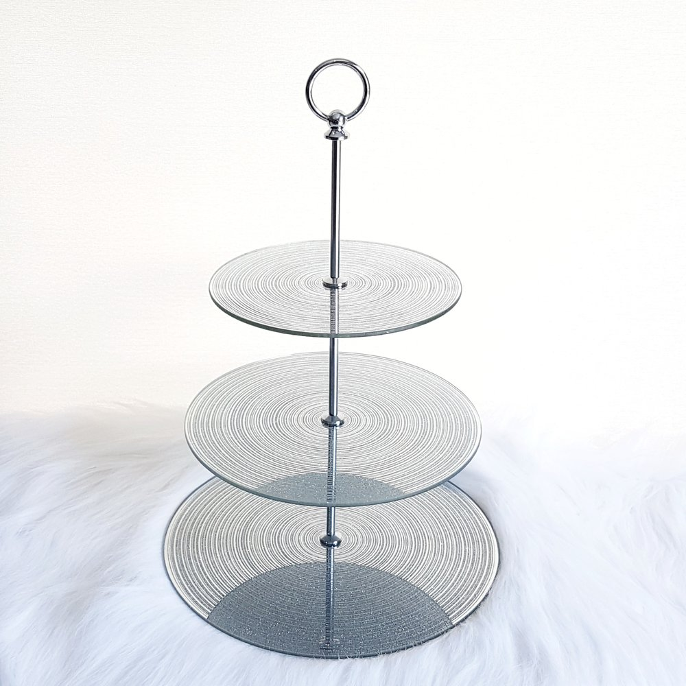 3 Tier Silver Cupcake Stand   $15
