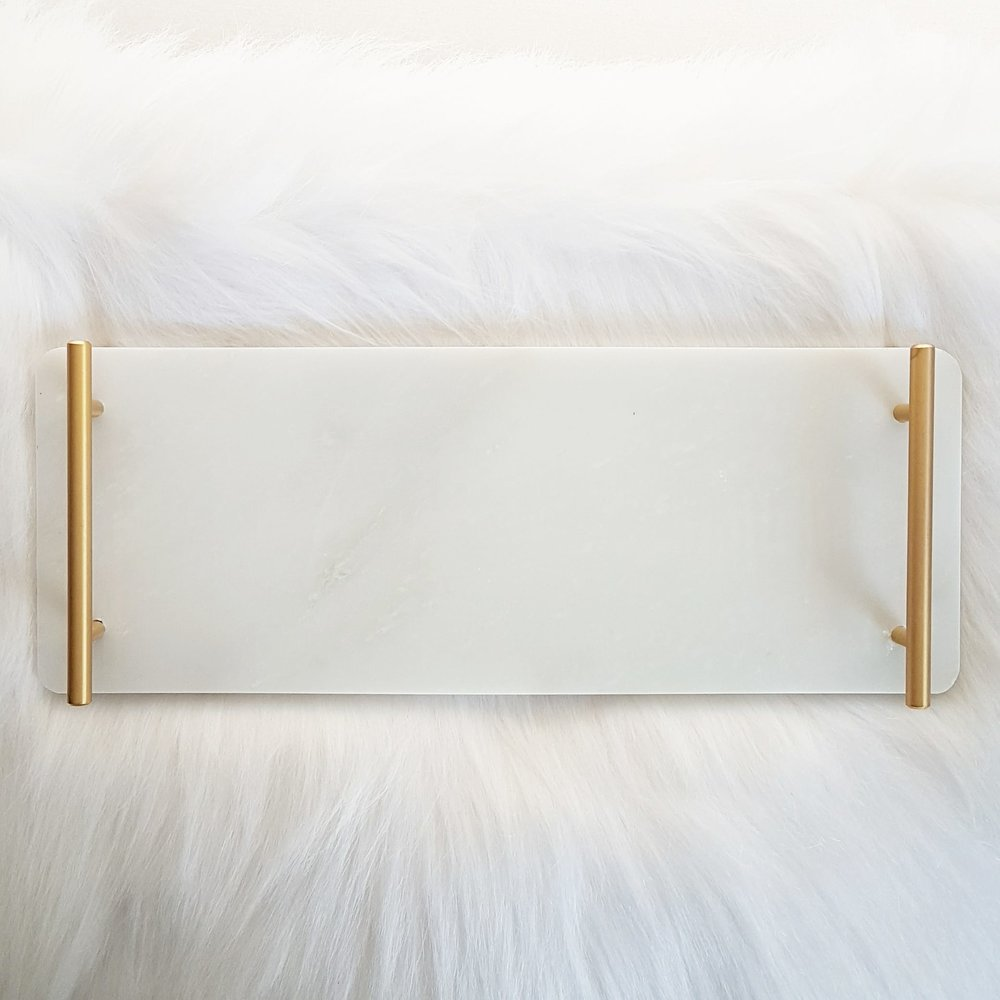 White Marble Tray 40 x 15cm - 2 available  $10