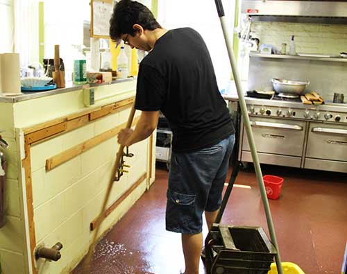 WSL's kitchen got a thorough scrubbing, and new cabinets are being installed.