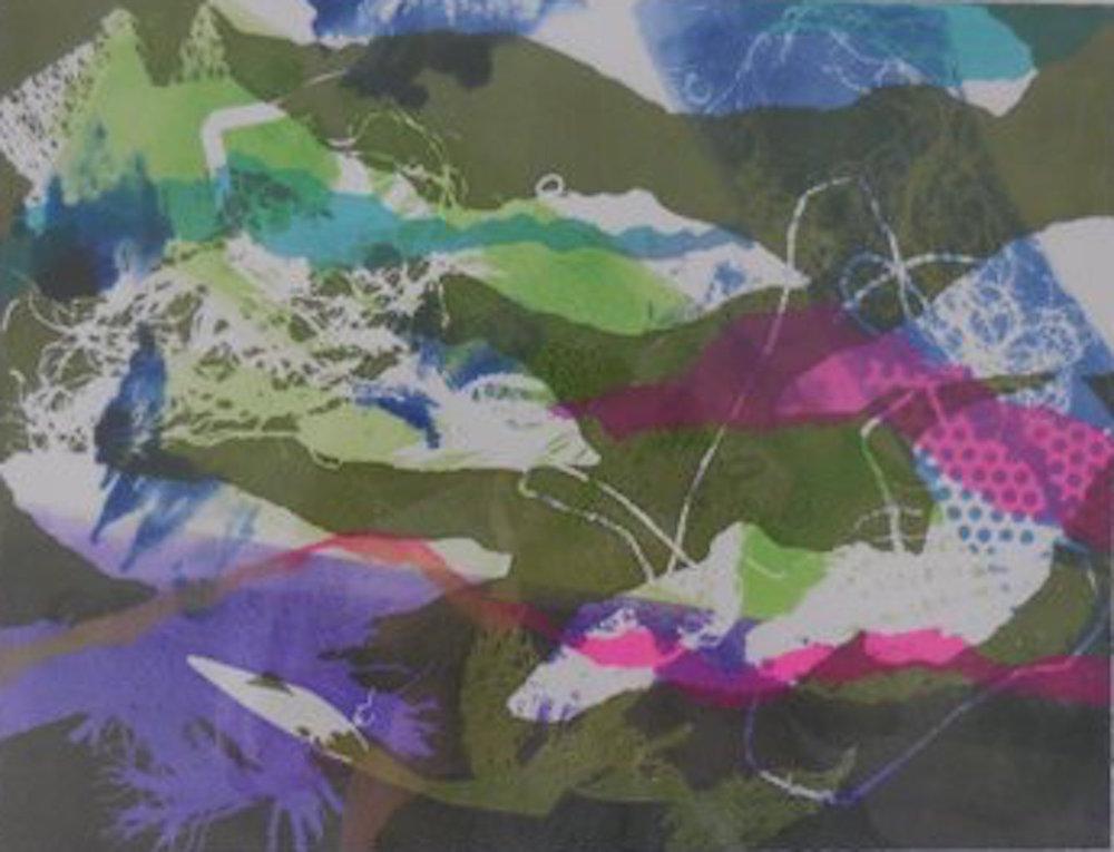"Spring Thaw , monotype, 11""x14"""