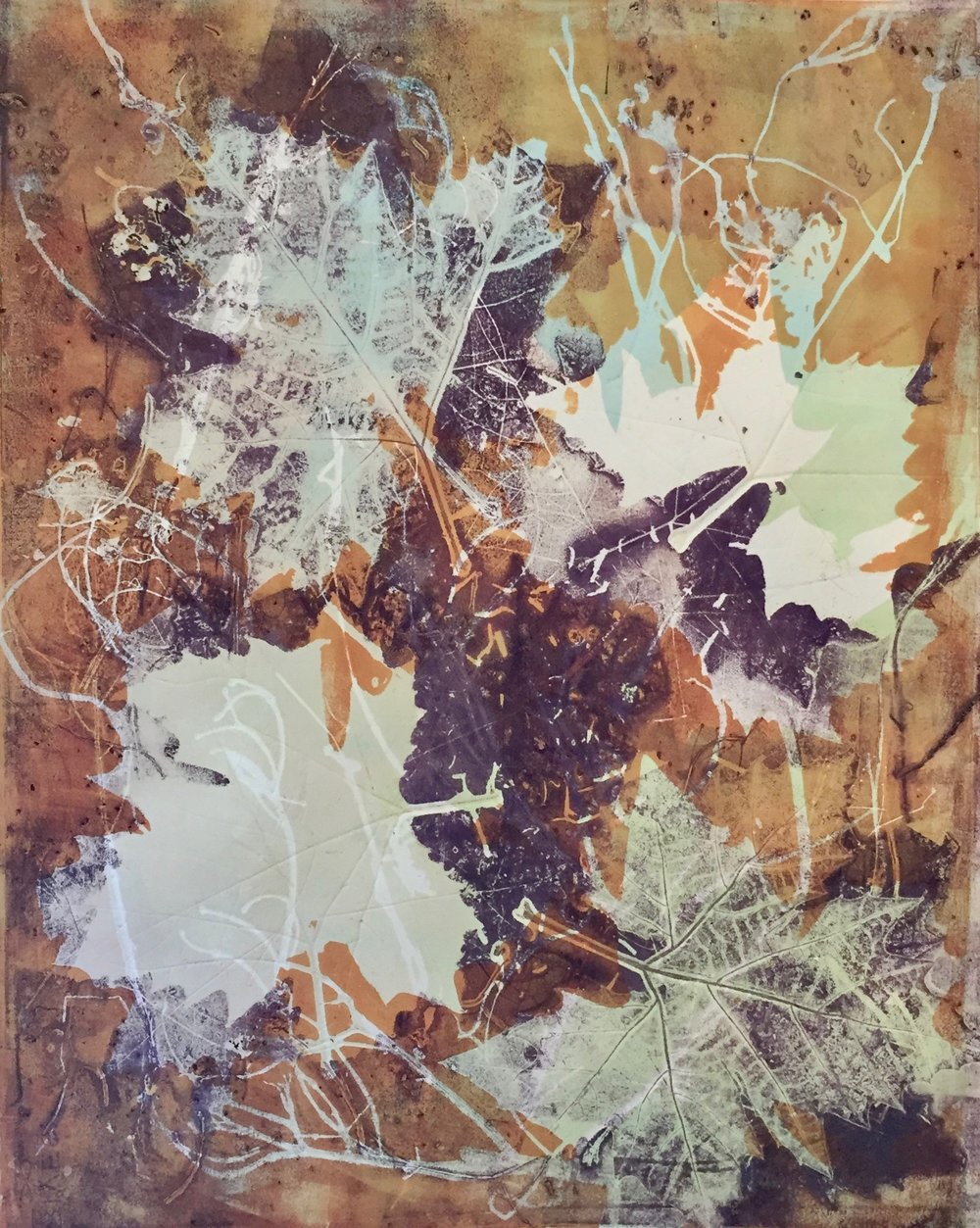 "Sycamores in the Fall #1,  monotype, 25""x19"", 2016"