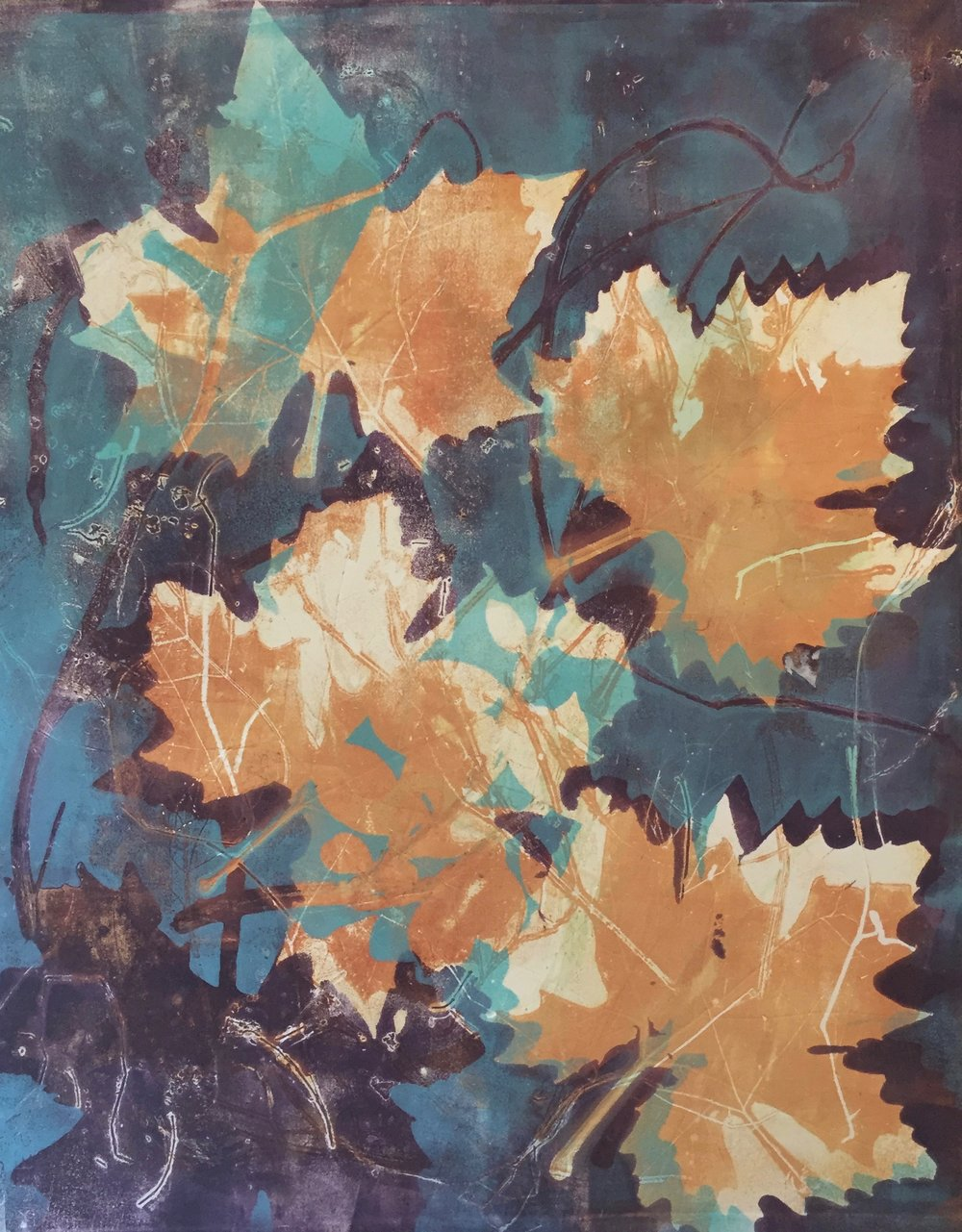 "Sycamores in the Fall #2,  monotype, 25""x19"", 2016"