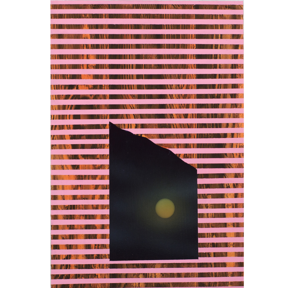 Pink Moon,  Acrylic on Hand Cut Sheetrock, 15 x 10 inches, 2014.