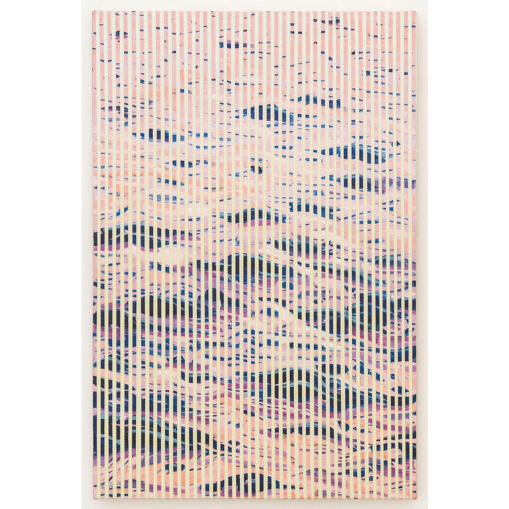 Wavenoise 2 , 2016, acrylic on canvas, 15 x 10 inches.