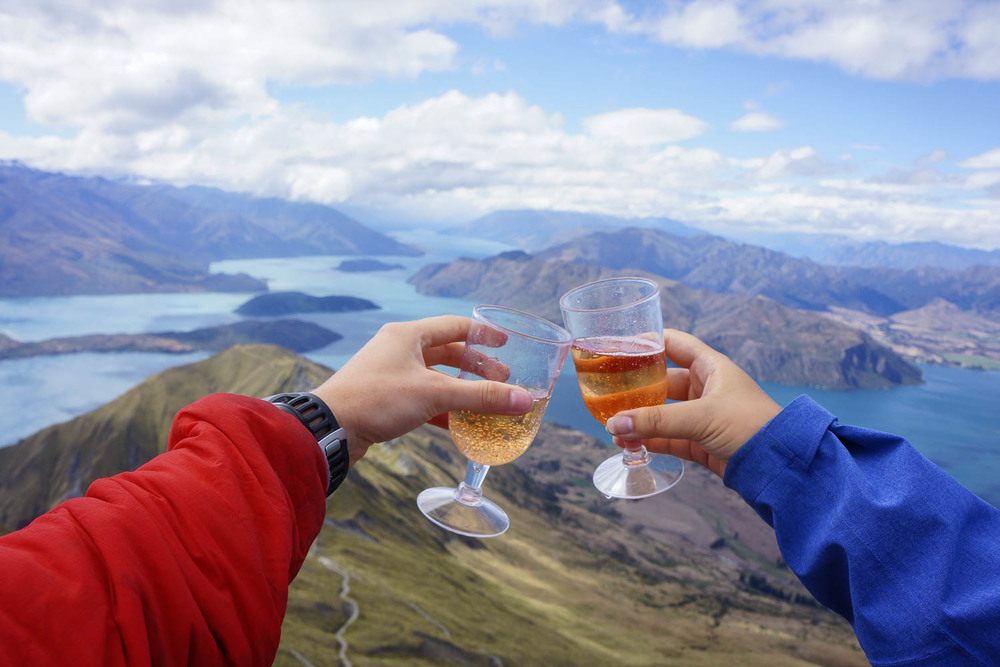 Every hike is made better with champagne.
