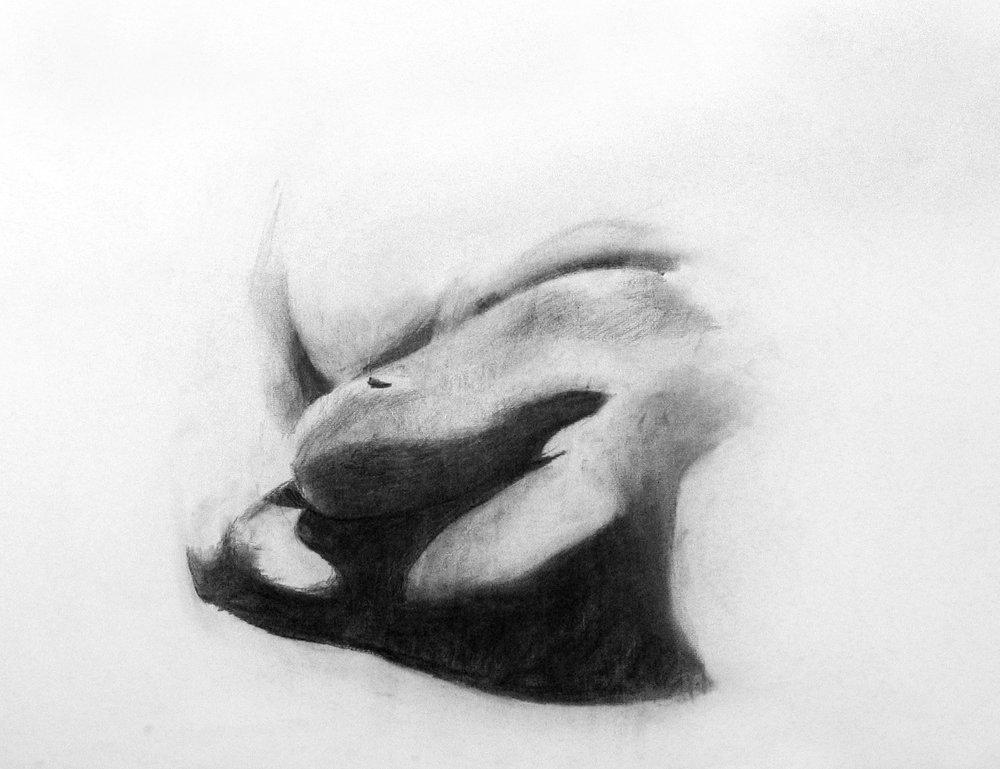 Sleepy woman, charcoal on paper,500x700 mm