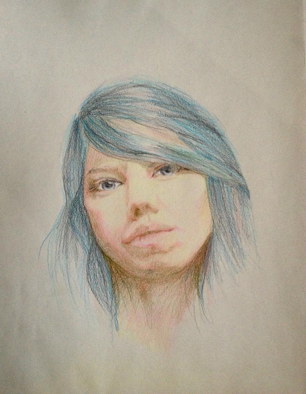 Self Portrait, 2012,colored pencil on paper,500x700 mm