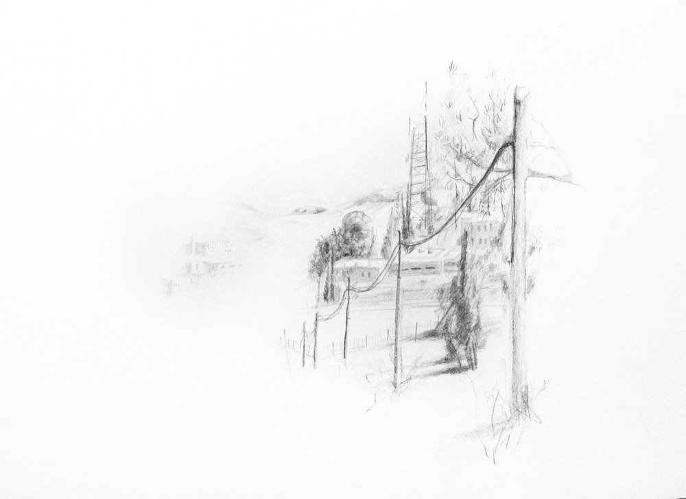 The Village Isawiya, pencil on paper, 500x700 mm