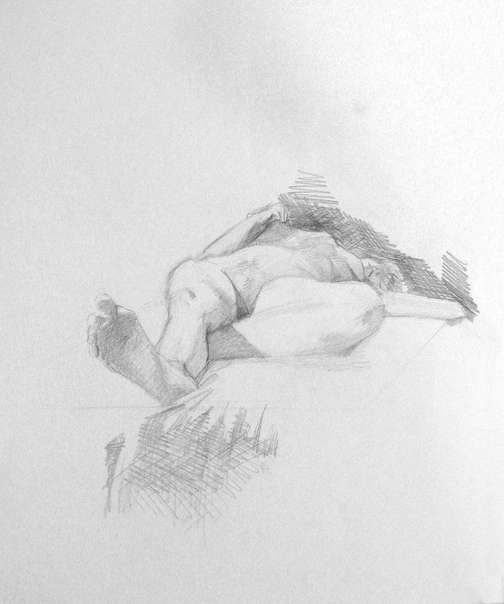 Sleepy woman, pencil on paper,500x700 mm