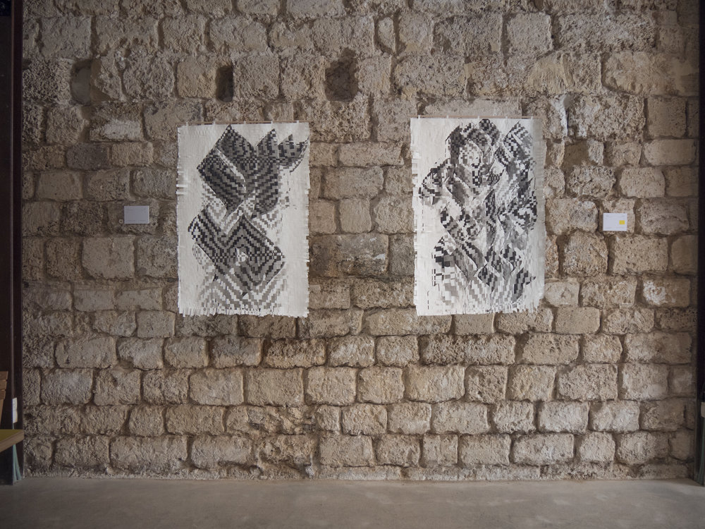Left:  ORדר | Ink on woven paper, 70x100 cm   *Source language: English and Hebrew   Right :   fərˈget | Ink on woven paper, 70x100 cm   *Source language: English, Hebrew and Russian