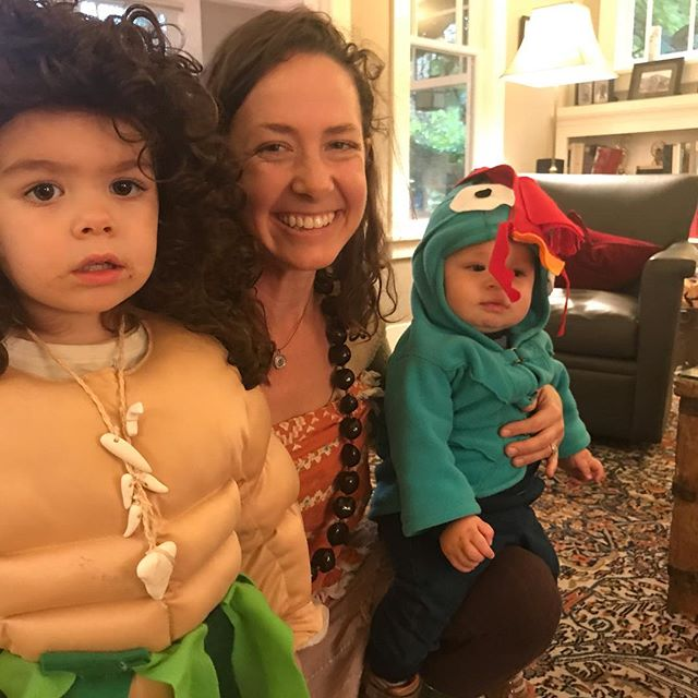 "Dressing up is fun enough to do it more than once a year! We challenge ourselves to buy as little as possible and use what we already have. Made an exception for the muscle shirt! Loved bringing the spirit of Moana into our lives for the holiday this year!  And grateful that if you have to have Disney music on repeat, even in your sleeping brain, that it's good message music. I always think of my KC tribe when singing ""Where You Are""  #moana #wizardofoz #pooh"