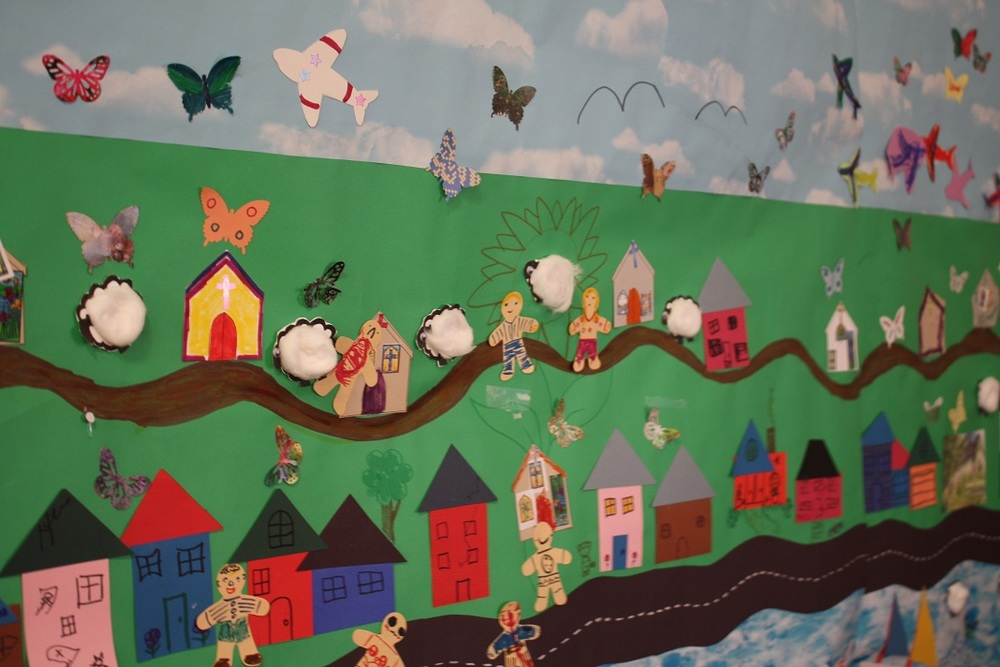 The mural continues to develop at Messy Church ... this week we added the butterflies as we heard the story of Easter.