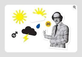 "You can even buy a ""retro weather"" sticker pack now - complete with 70's Weather Man."