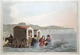 "A bathing machine.  How is a horse pulling a shed into the sea ""a machine""?"