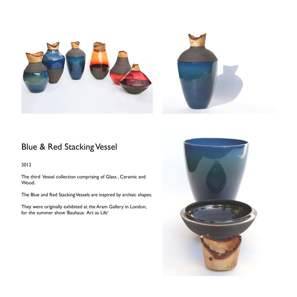 Blue and Red Stacking Vessel