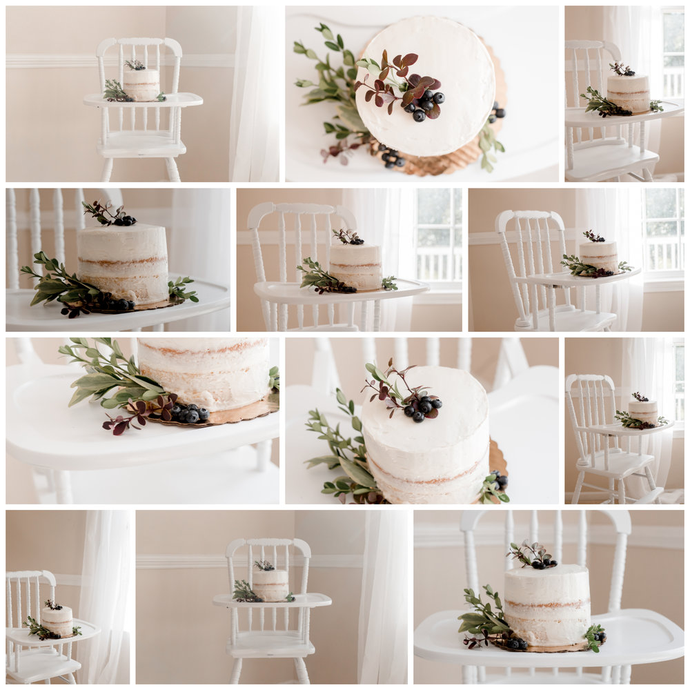 Jenny Lind high chair with a white naked cake for a boy's first birthday in Mika James Amaya photography's portrait studio.