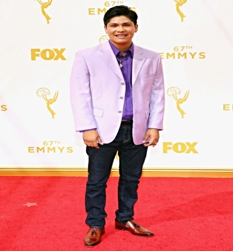 Actor Johnny Ortiz at 67th Emmy Awards red carpet wearing Marion model shoes by M Andrews Sartorial Luxury