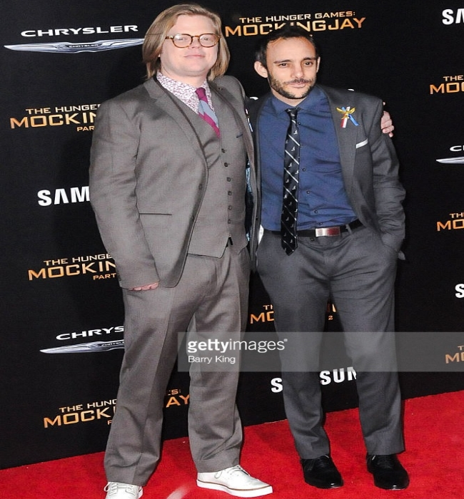 Actor Omid Abtahi attending Hunger Games premier wearing Parker model shoes by M Andrews Sartorial Luxury