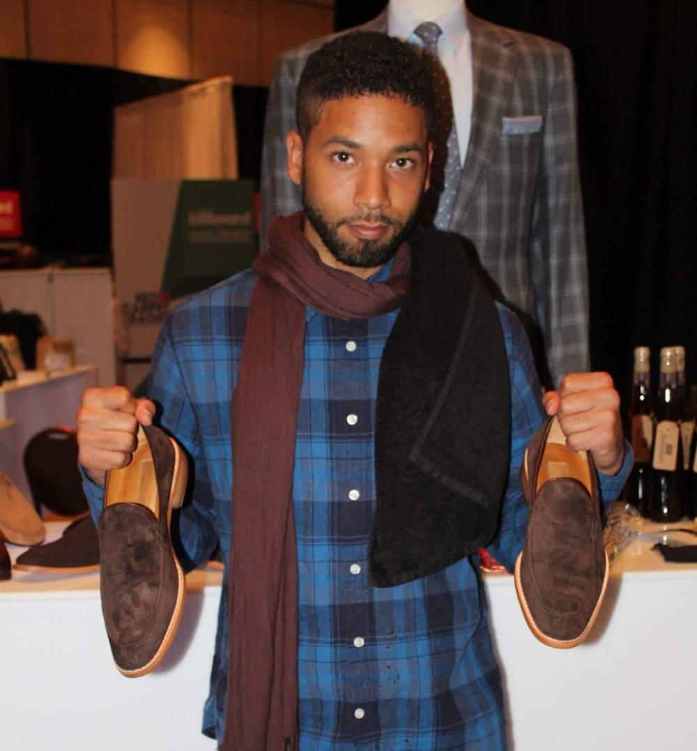 Empire's Jussie Smollett with a pair of Warren  model suede loafers by M Andrews Sartorial Luxury