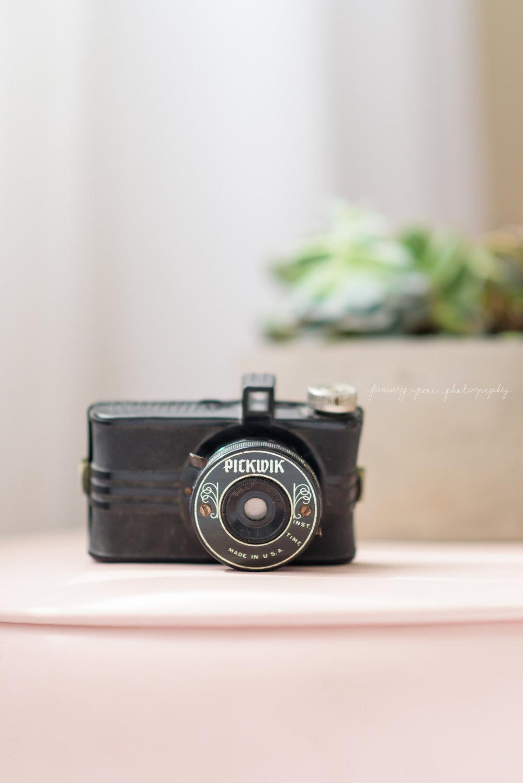 antique camera on blush ottoman