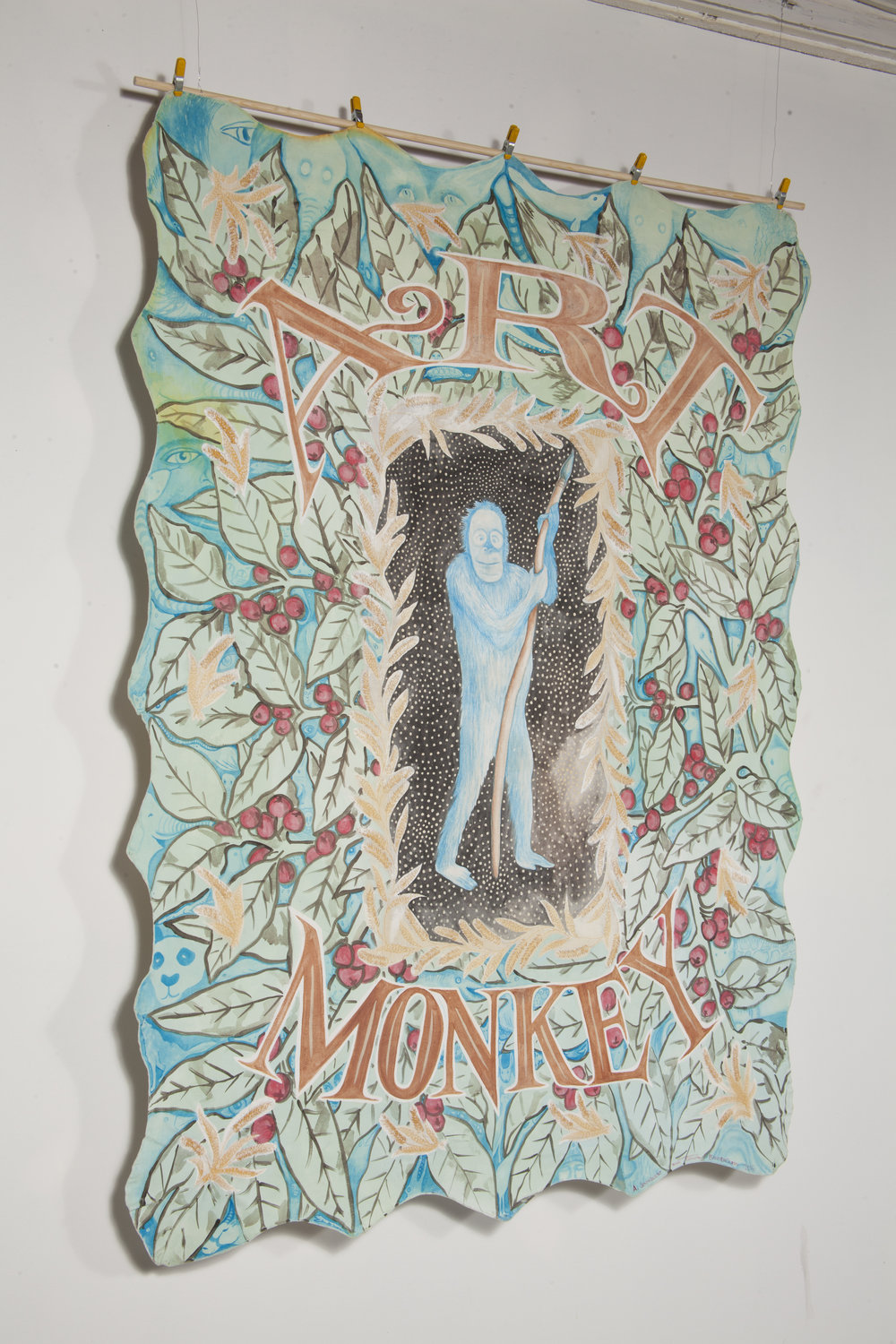 Amy Johnquest | Art Monkey | 2016 | Casien & acrylic on vintage tablecloth