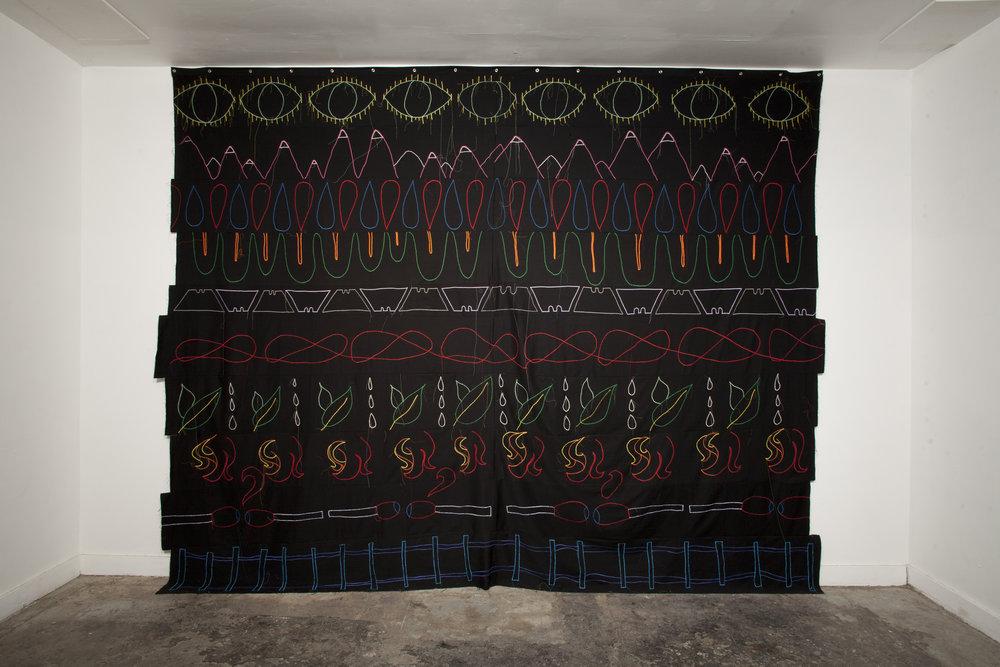 Emily Marchand,  storm tarp,  textile, 2017 | Photo by Josh Schaedel