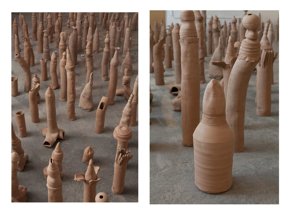 Emily Marchand and Lena Wolek,   soft ammunition  (detail),  unfired clay, 2017 | Photo by Josh Schaedel