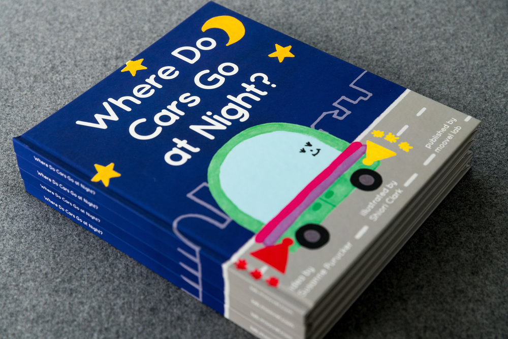 A pile of 'Where Do Cars Go at Night?' books