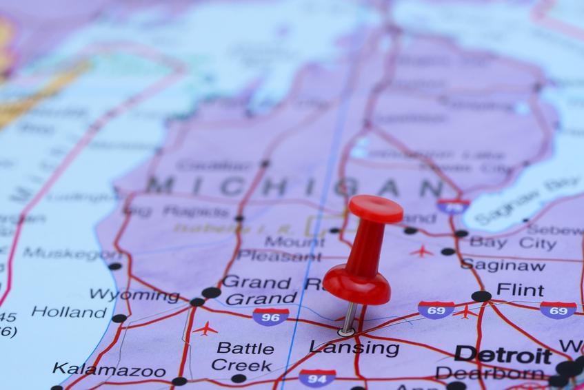 Pin on map highlighting lansing, michigan