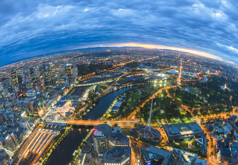 Elevated view of Melbourne, Australia at sunrise