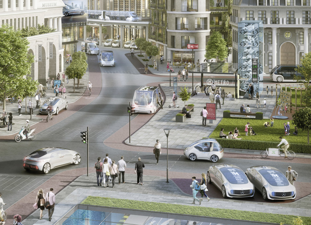 Graphic showing the future mobility imagined by Bosch and Daimler, with users ordering shared automated cars or robot taxis via their smartphones (Image courtesy of Bosch and Daimler)